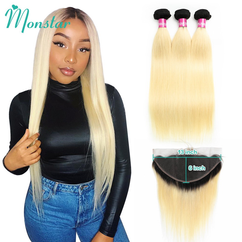 Monstar 13x6 Lace Frontal with Peruvian Straight Hair 1B 613 Ombre Blonde 100 Human Hair Remy