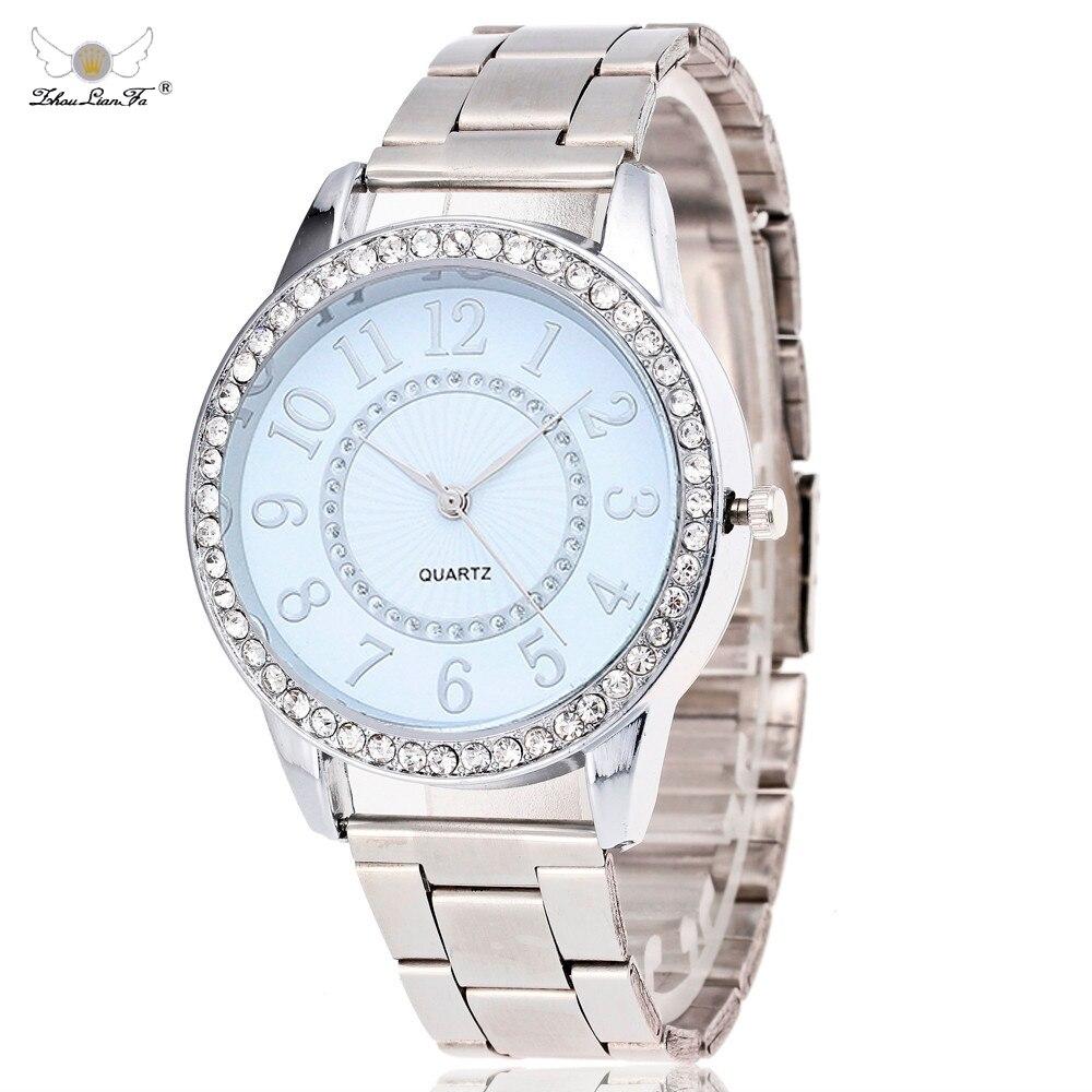 Zhou Lian Fa Stainless Steel Woman WristWatch Ladies Dress Watch Clockss Hours Relogios Feminino Rhinestone Crystal Watch New