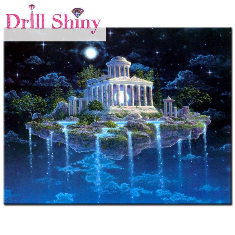 DIY 5D Diamond Mosaic Falls vila Ruční výroba diamantových malířských křížových stehů Soupravy vyšívacích vzorů drahokamu