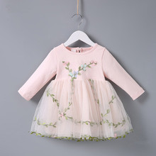 Kids Baby Flowers Grass Embroidery Dress 0-2T