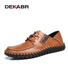 DEKABR marka hakiki deri erkek ayakkabısı yüksek kaliteli dantel Up rahat ayakkabılar erkekler yaz şık günlük Oxford Flats moda erkek ayakkabı