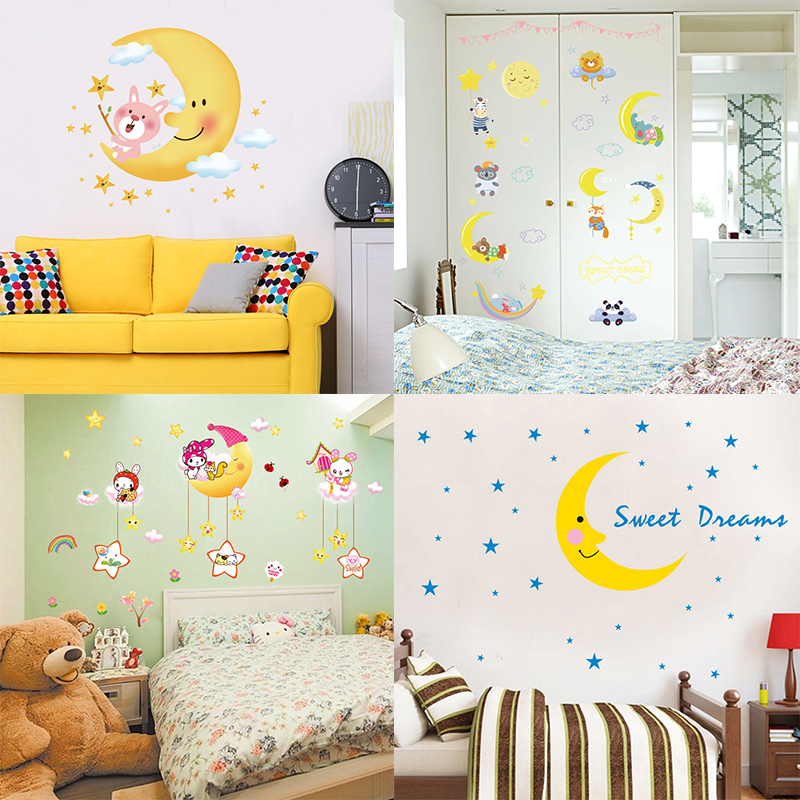 Zs Sticker Moon Stars Nursery Wall