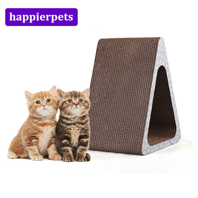 Cat Scratch Board Triangle Shape Corrugated Pet Toy Hide Seek Sofa Supplies High