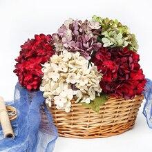 1 sztuk/partia sztuczne kwiaty jedwabiu hortensja bukiet ślubny wazon dekoracji domu DIY Craft wieniec Scrapbooking fałszywe kwiaty