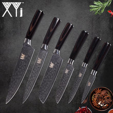 XYj Kitchen Knife Set 6 Piece Stainless Steel High Carbon Sharp Blade Knives Cooking Accessories Good toughness Kitchen Helper(China)