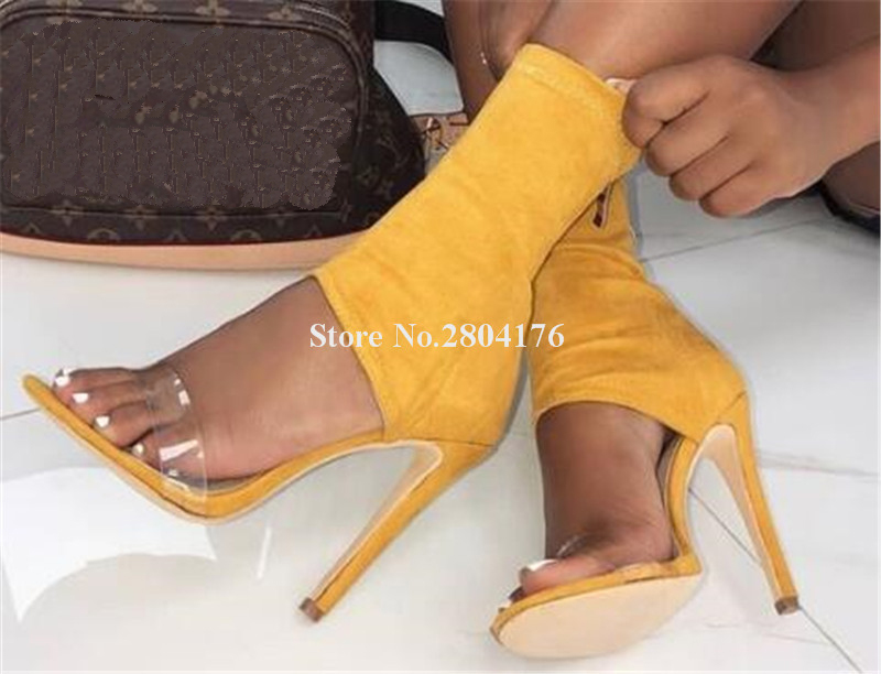 Women Fashion Open Toe Suede Leather One PVC Strap Thin Short Boots Cut-out Ankle Bandage High Heel Ankle Boots Dress Shoes authentic 100% 925 sterling silver round power box petite memories long chain necklace floating locket necklace diy jewelry