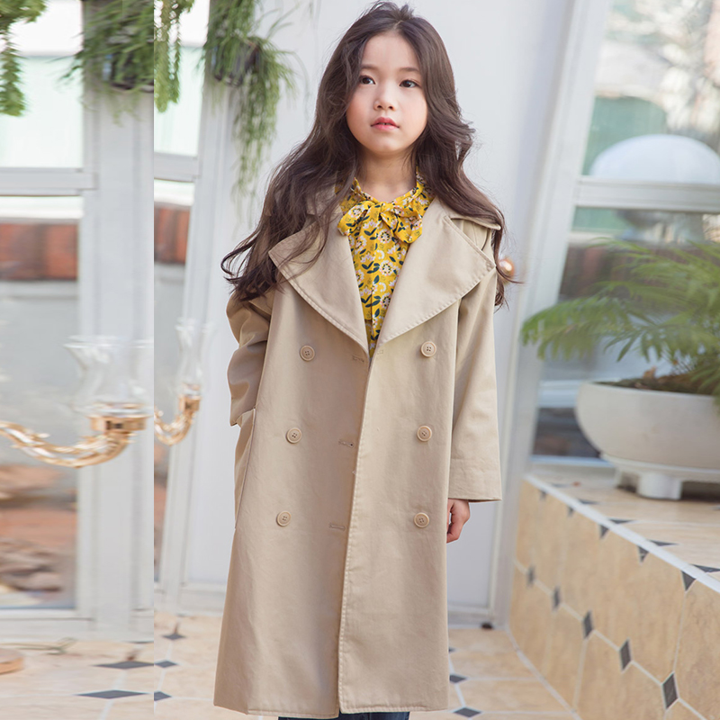 5-13 year old girl long coat spring and autumn Fashion Large lapel large pocket collar trench Loose leisure Fashion Classic pocket front curved hem wrap trench dress