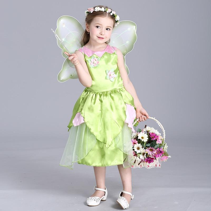 The Wizard Of Oz Girl Princess Dress Halloween Green Flower Fairy Costumes Dresses Girls Sleeveless Appliques Ball Gown