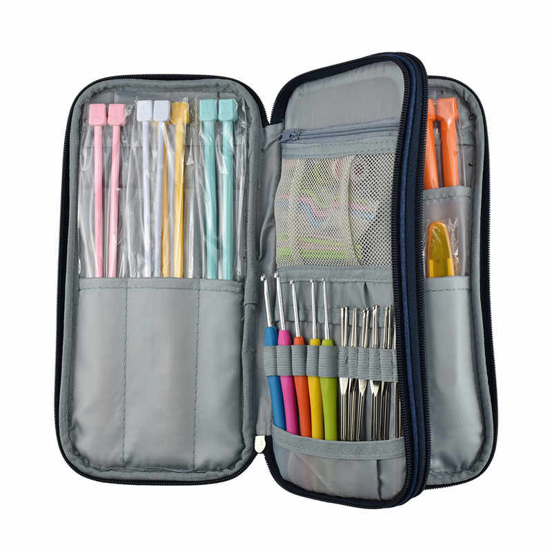 Knitting Hooks Needles Set 17pcs 0.6-4.5mm Crochet Hook Needles Set Knitting Needles With Blue Case Sweater Weave Knitting Tools