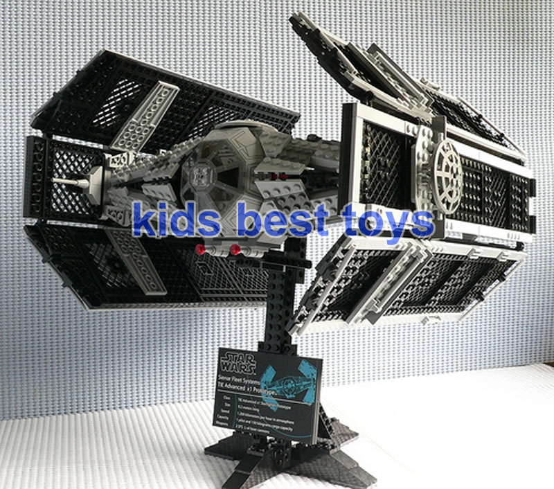 Star Wars Darth Vader's TIE Fighter Advanced 05055 DIY Building Brick Toys Boys Gift Same As 10175 dhl lepin 05055 star series military war the rogue one usc vader tie advanced fighter compatible 10175 building bricks block toy