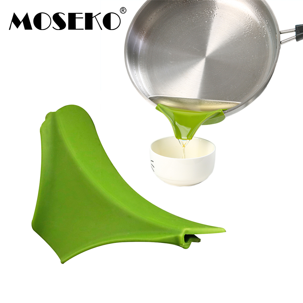 MOSEKO Kitchen Silicone Anti-spill Drain Pans Round Rim Deflector Liquid Soup Diversion Mouth Funnel Cooking Kitchen Tools