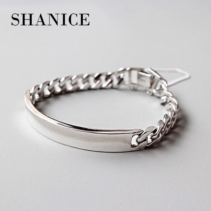 SHANICE 100% 925 sterling silver luxury women cuff bangle bracelet Personality heavy work Thick chain bangles цена