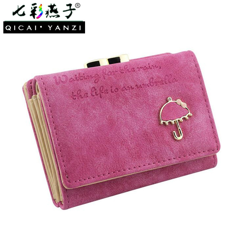1e874fa4d98ad 2017 Brand Fashion Women Wallets Short Faux Leather Small Umbrella Wallet  Button Clutch Purse Bag Top Quality Free Shipping N851