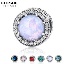 6418b20cc ELESHE Authentic 925 Sterling Silver Radiant Hearts Clear CZ Crystal Charms  Beads Fit Pandora Charm Bracelet