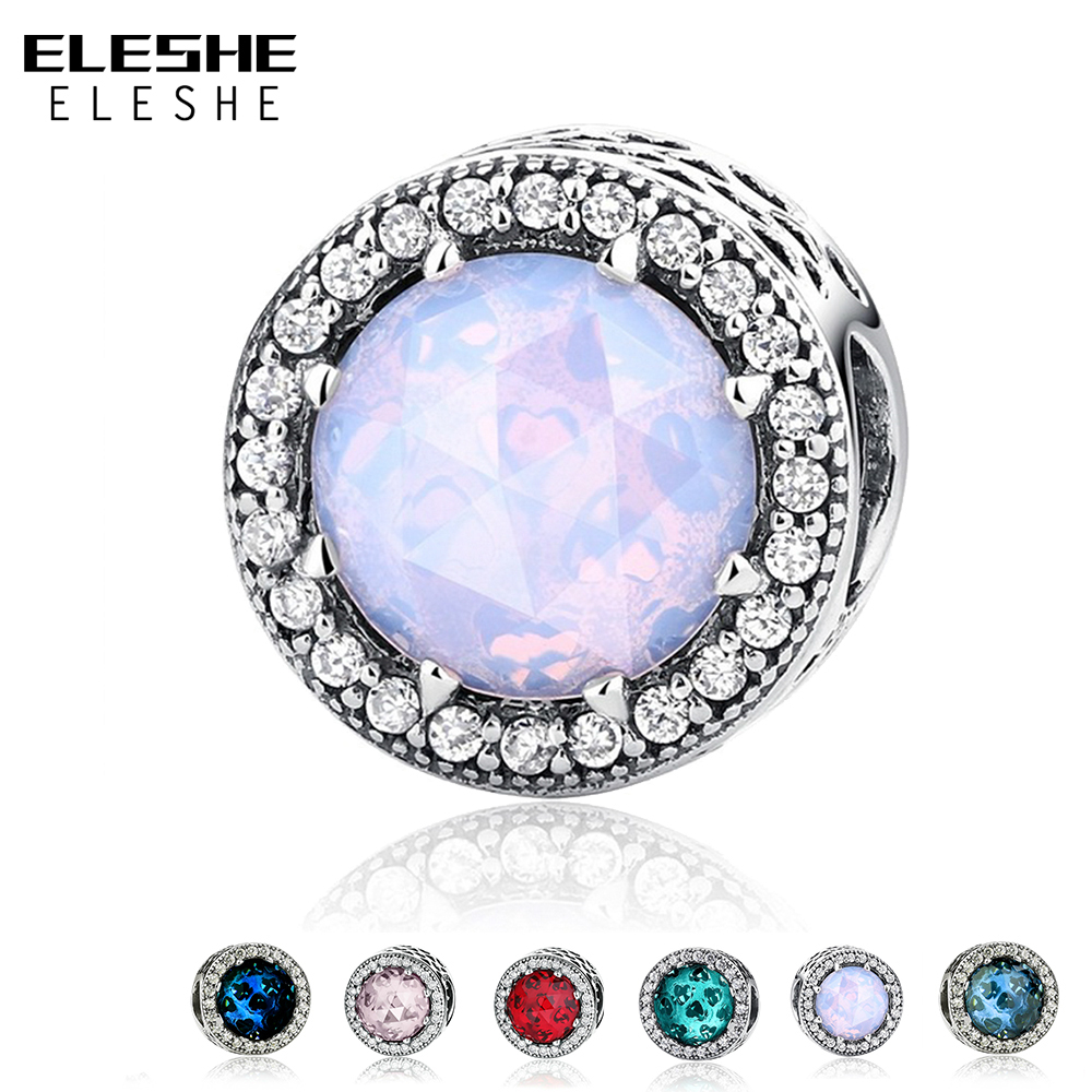 ELESHE Authentic 925 Sterling Silver Radiant Hearts Clear CZ Crystal Charms Beads Fit Pandora Charm Bracelet Original Jewelry top quality bright mint enamel clear cz radiant hearts of pan bangle fit europe bracelet 925 sterling silver bead charm jewelry