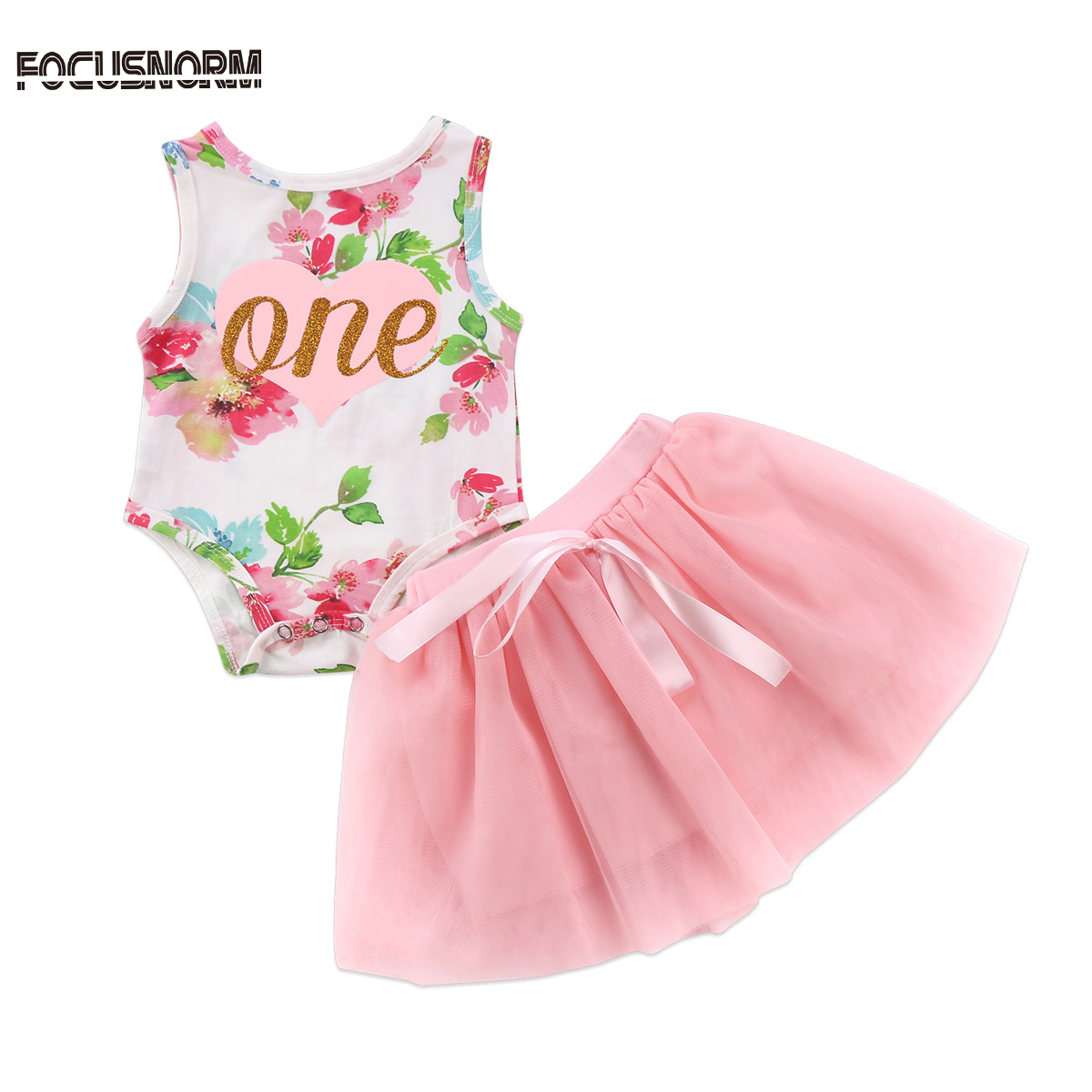 Adorable Newborn Baby Girls Xmas Princess Floral Sleeveless Bodysuit+Bow Tulle Tutu Skirt 2Pcs Outfits