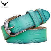 Genuine Leather Women Belt Fashion Vintage Gold Metal Belts For Women Cinto De Couro Strap Female