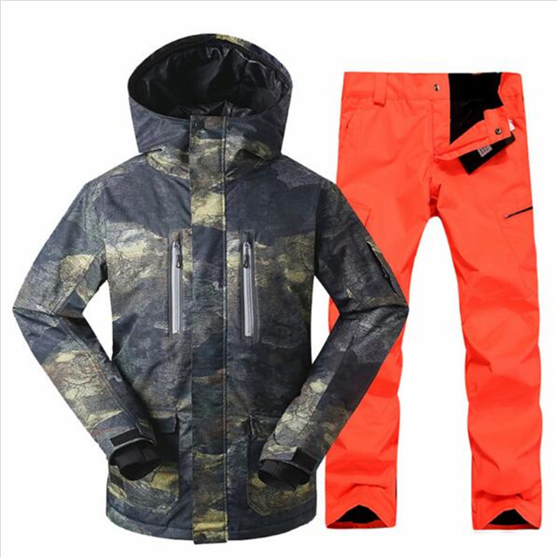Hommes Ski costume coupe-vent veste + pantalon chaud Snowboard épaissir vêtements pantalons ensembles veste GSOU neige nouveau livraison gratuite