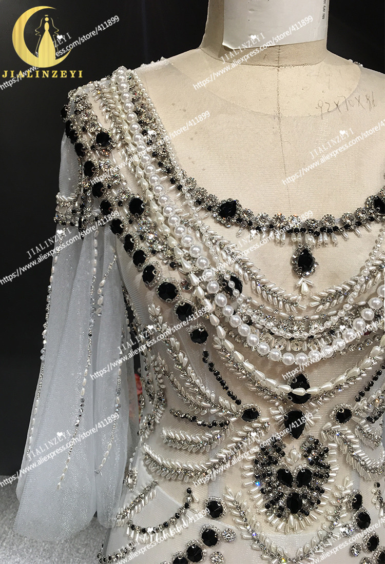 JIALINZEYI Real Sexy Luxe Kristal Hoge Kwaliteit Mermaid jurken Licht Sliver Hot Koop Avondjurken 2019 - 5