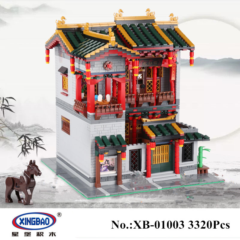H&HXY IN STOCK Xingbao 01003 3320Pcs Creative MOC Series The Yi-hong courtyard Set Children Building Blocks Bricks Toys in stock h