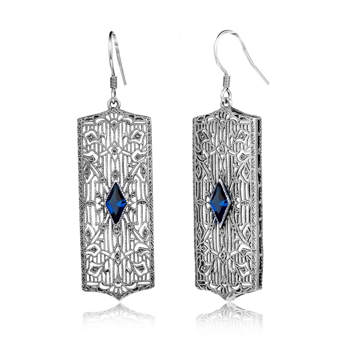 Bohemia Vintage 925 Sterling Silver Earrings for Women Party Jewelry Lab Aquamarine Garnet Ruby Ear Drop Earrings Lady Jewelry цена