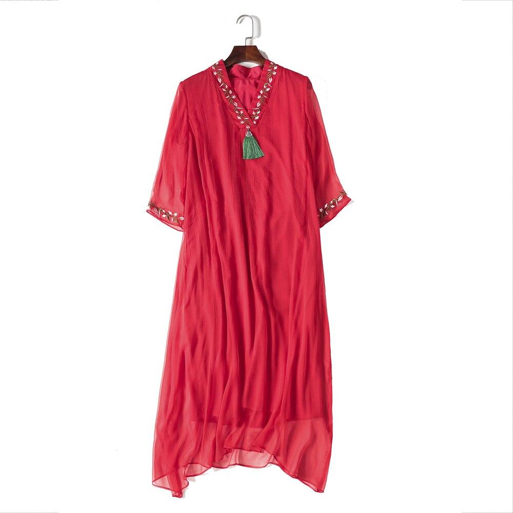 Unique Design Woman Natural Silk Dress Chinesel Style Tassel Woman Mid-Calf Length A-Line Female Spring Women Red Dress XXXL