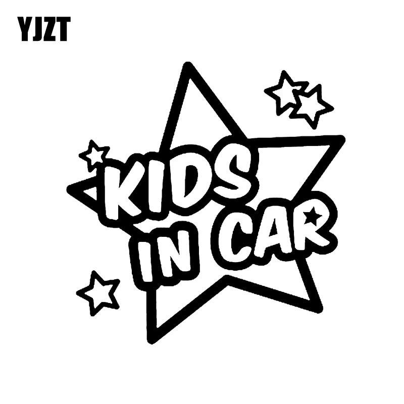 YJZT 13CM*13.2CM KIDS IN CAR Decal Vinyl Car Lovely Stars Sticker Black/Silver C10-00748