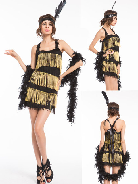 FREE SHIPPING 1920s 20s Gold Purple Pink Red Black Flapper Costume Charleston