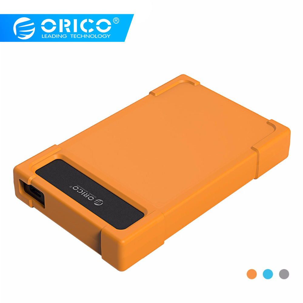 ORICO 28UTS-C3 2.5 Inch Type-C Hard Drive Enclosure  USB3.1 Gen1 Adapter HDD SATA Adapter With Leather - Orange/Blue/Gray