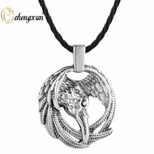 CHENGXUN Vintage Viking Necklace Pendant Eagle In Nordic Rune Circle Charm Collier Choker Ethnic Necklace Animal Celtic Talisman(China)