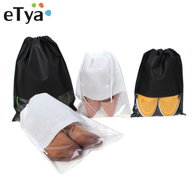 ETya 2 Sizes Women Men Shoes Bag Drawstring Bag Pouch Non-Woven Fabric Portable Travel Shoes Clothes Organizer Packing Bags