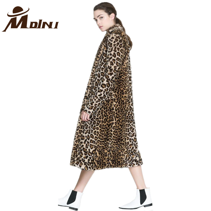 Female Long Jacket Coat With Hood Women Fur & Faux Fur Winter Warm Fashion Furs Leopard Outerwear & Coats & Basic Jackets
