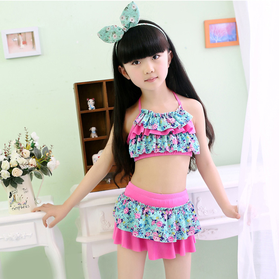 Girls Two Pieces Swim Suits Swimwear Children Polyester Kids Floral Bathing Suit Swimming Wear Big Girl Swimsuits 3-13 Years