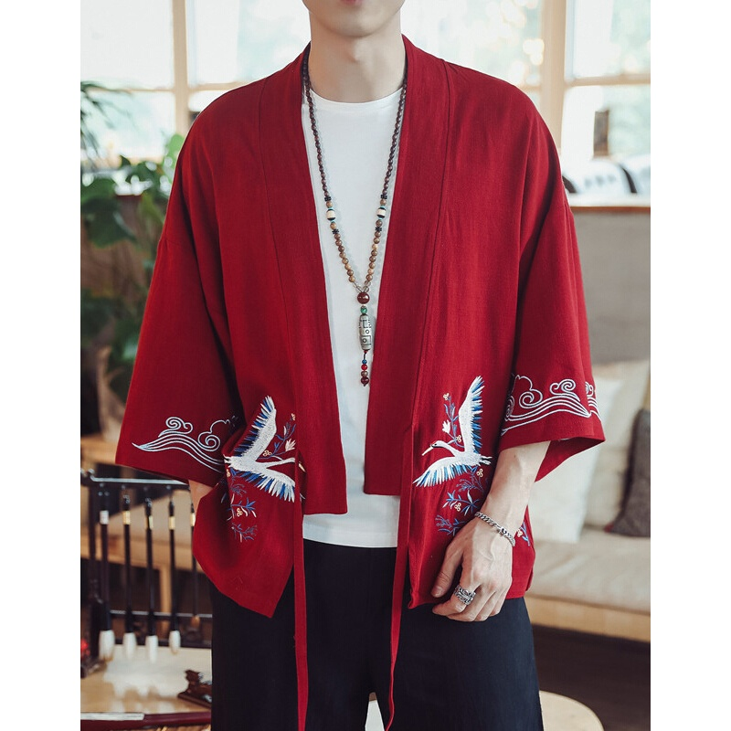 Spring Summer Chinese Style 7 Point Sleeve Men Embroidered Linen Cardigan Oversize Loose 100% Cotton Retro Men's Jacket 15 Color