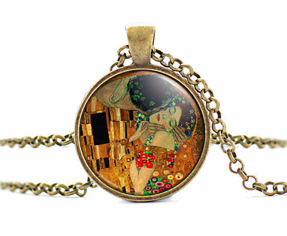 Detail Feedback Questions about New The Kiss Necklace Gustav Klimt Pendant Art Painting Jewelry Gifts Women Artist Pendants Glass Cabochon Picture Necklaces ...