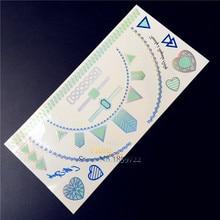 1PC 3D Flash Metallic Tattoo Stickers Blue Color HBLH-005 Golden Choker Sliver Heart Diamond Sexy Women Makeup Tattoos Inspire
