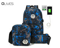 OLIVES New Anti thief USB Charging 15.6inch Laptop Backpack For Women Men Backpack High School Backpack Bag For Camouflage blue