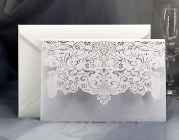 100SET/LOT White Laser Cut Wedding Party Invitation Card Wish Card