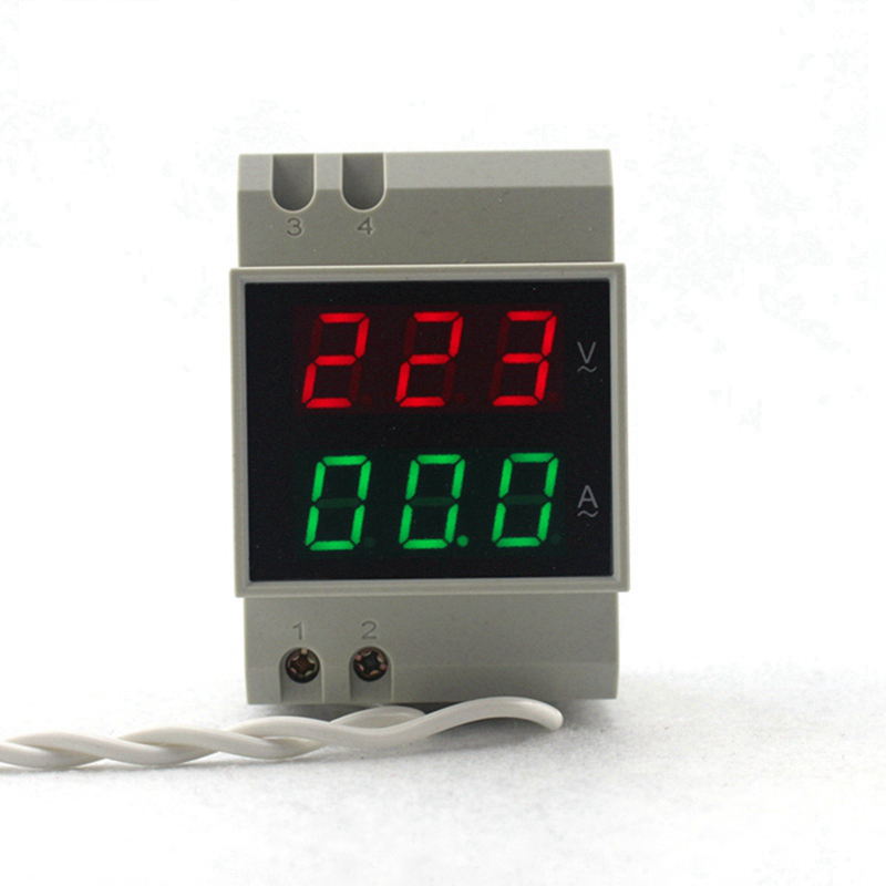 DIN RAIL AC 80-300V AC 200-450V AC 0,1-99,9A Dual led Digital Voltmeter Ammeter AC Voltage Current Meter Monitor