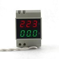 Din Rail Ac 80-300V Ac 200-450V Ac 0.1-99.9A Dual Led Digitale Voltmeter ampèremeter Ac Voltage Current Meter Monitor