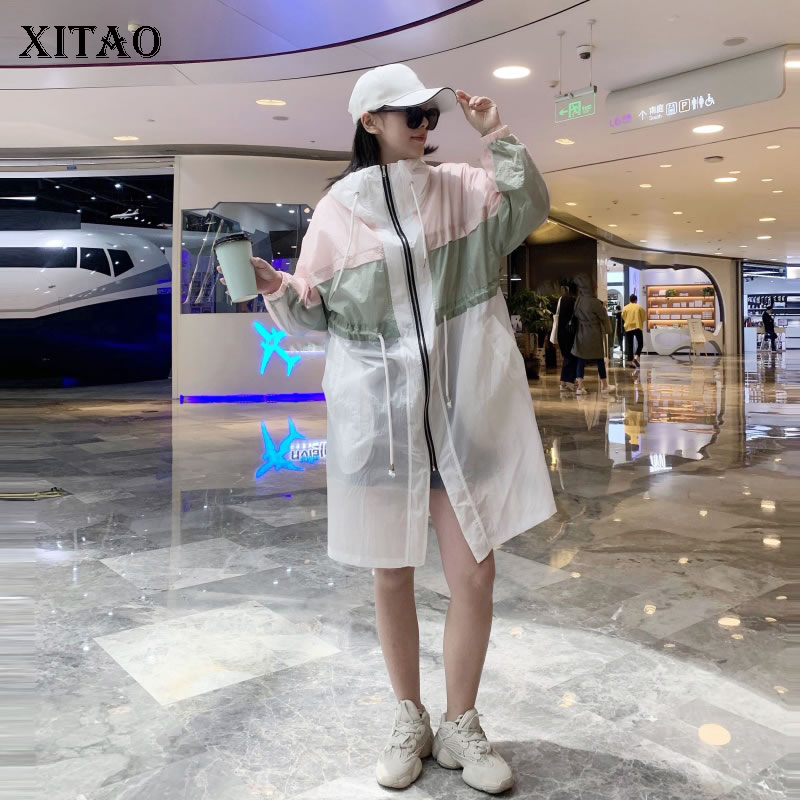 XITAO Hoodies Patch   Trench   Women Cardigans Wide Waisted Sun Protection Clothing Large Size Thin Color Matching 2019 WLD1238