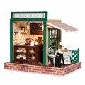 1:32 Миниатюрный Кукольный Дом Европейский кафе ПОДЕЛКИ Ручной Работы Кукольный Домик Комплект Модель с Мебель Свет Музыкальный Подарок Любовника