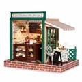 1:32 Casa de Bonecas Em Miniatura Europeia café Bar Kit Modelo DIY Handmade Casa de Bonecas com Luz Mobiliário Presente do Amante Da Música