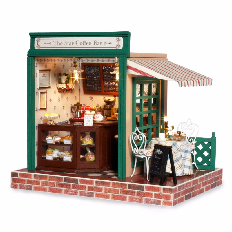 1 32 Miniature Doll House European Coffee Bar Diy Handmade