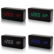 Wooden LED Alarm Clock with Temperature Sounds Control Calendar LED Display Electronic Desktop Digital Table Clocks  LS