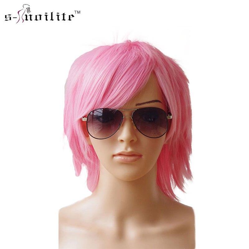 SNOILITE 30 cm Cosplay sintético corto peluca rosa oscuro vestido de ...