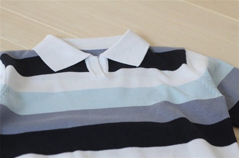 Baby boy sweater Stripe fashion brand Spring Autumn children clothes V-neck designer party kid Casual sweater camiseta infantil (6)