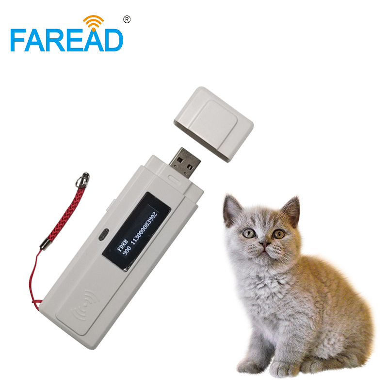 Free Shipping ISO11784 11785 Mini RFID FDX-B Animal Chip Tag Scanner With USB Microchip Reader For Dog Breeder