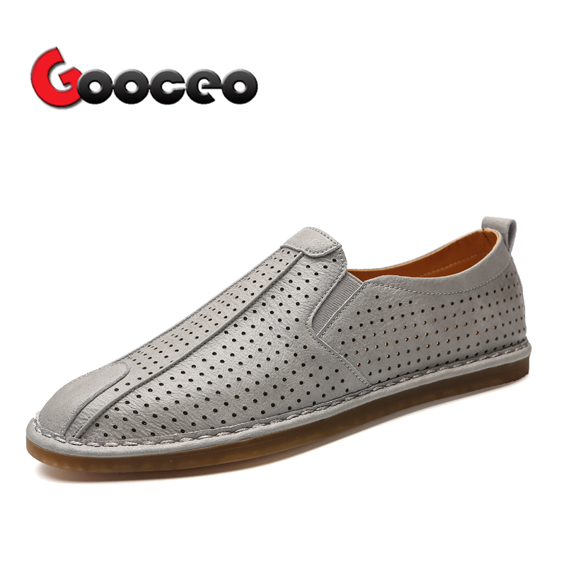 Gooceo Mens Flats Loafers Driving Shoes Moccasins Leather Flat Handmade Low-top Slip-On