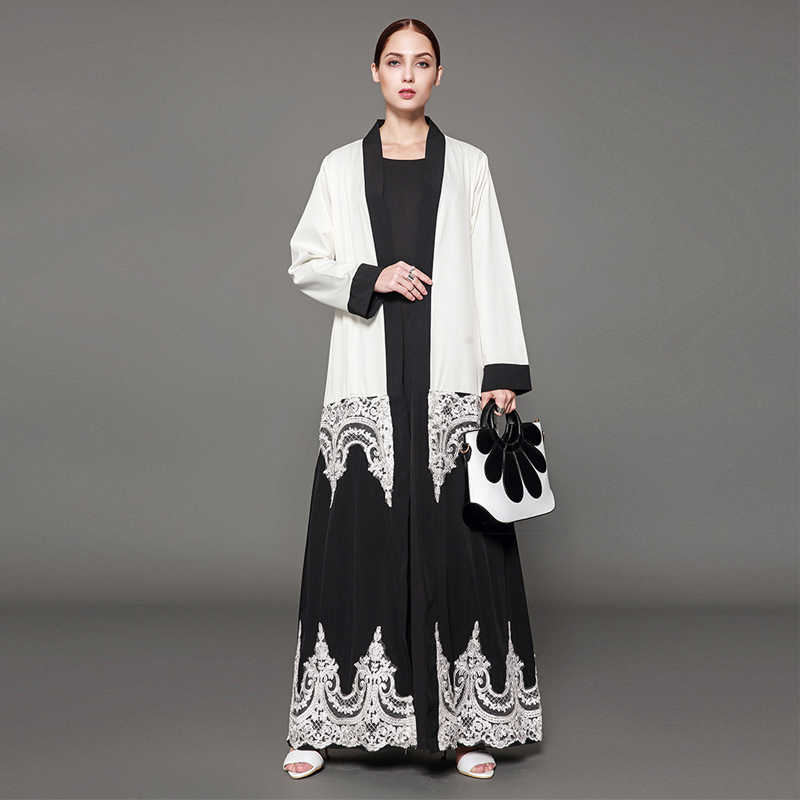 8bf84db04f423 Abayas For Women 2019 5XL UAE Abaya Dubai Kaftan Islam Lace Embroidery  Cardigan Hijab Muslim Dress Robe Turkish Islamic Clothing